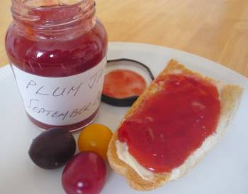 Plum jam on toast