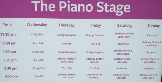 Piano Stage timetable