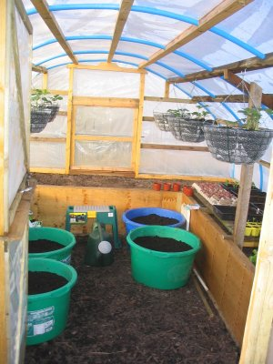 View 2 of interior of homemade, covered raised beds